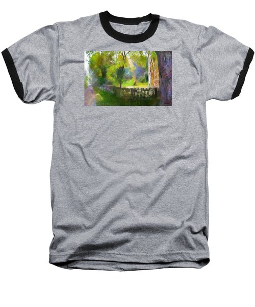 Baseball T-Shirt featuring the painting Around The Cathedral by Wayne Pascall