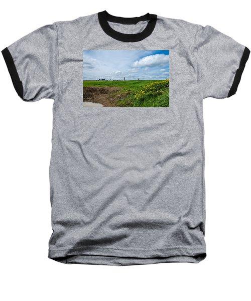 Round Tower Portrane Baseball T-Shirt by Martina Fagan