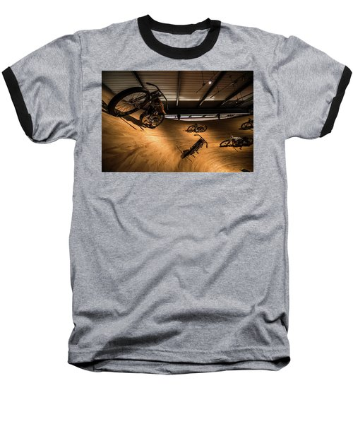 Rounding The Bend Baseball T-Shirt by Randy Scherkenbach