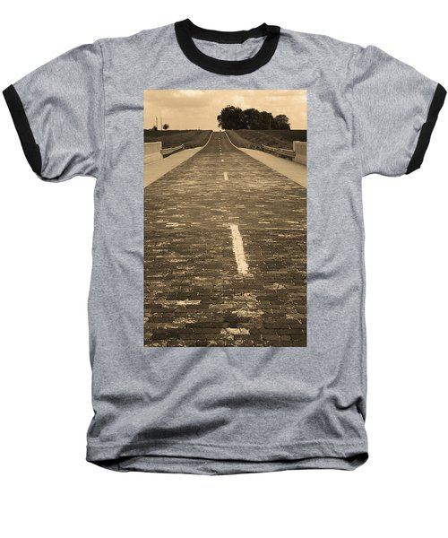 Baseball T-Shirt featuring the photograph Route 66 - Brick Highway 2 Sepia by Frank Romeo