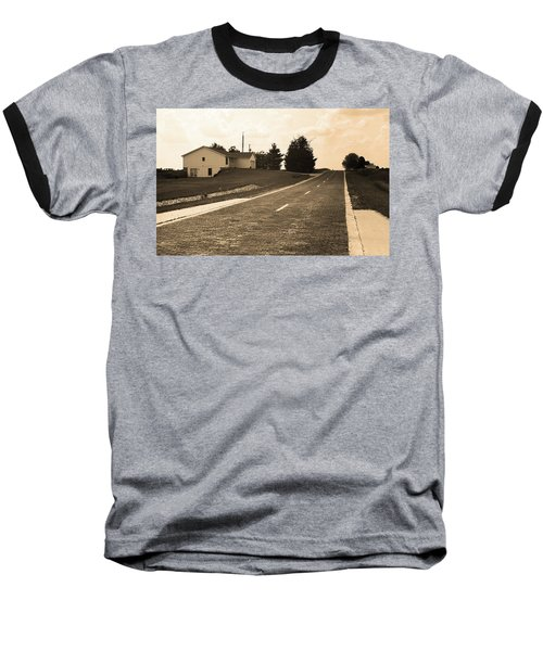 Baseball T-Shirt featuring the photograph Route 66 - Brick Highway Sepia by Frank Romeo