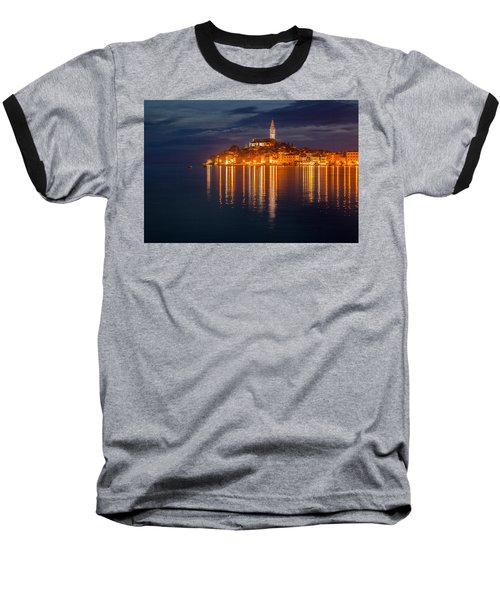 Baseball T-Shirt featuring the photograph Rovinj By Night by Davorin Mance