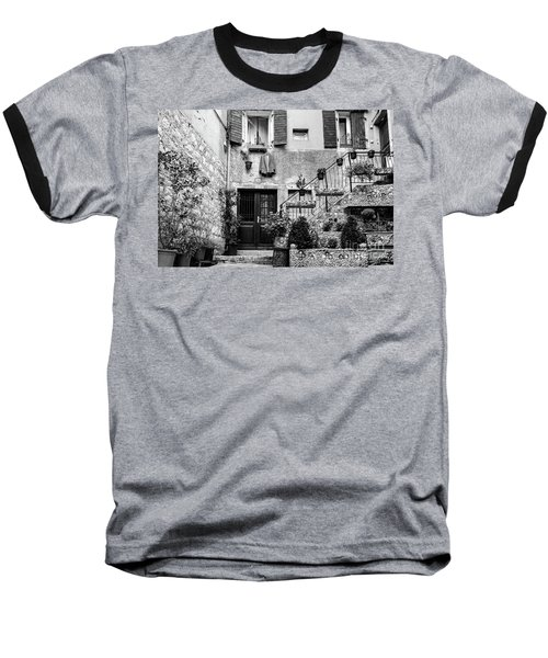 Rovinj Old Town Courtyard In Black And White, Rovinj Croatia Baseball T-Shirt