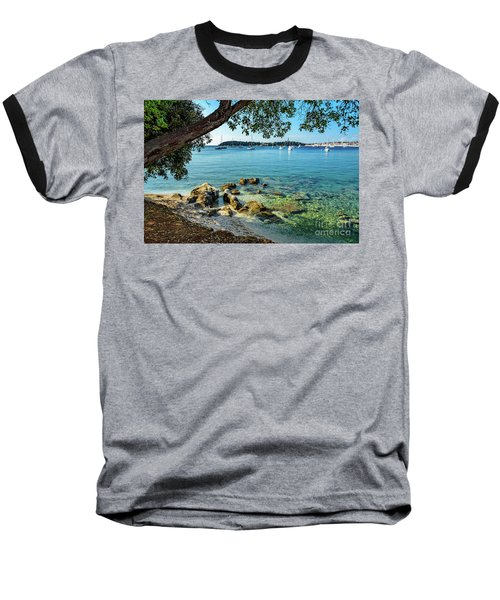 Rovinj Old Town, Harbor And Sailboats Accross The Adriatic Through The Trees Baseball T-Shirt