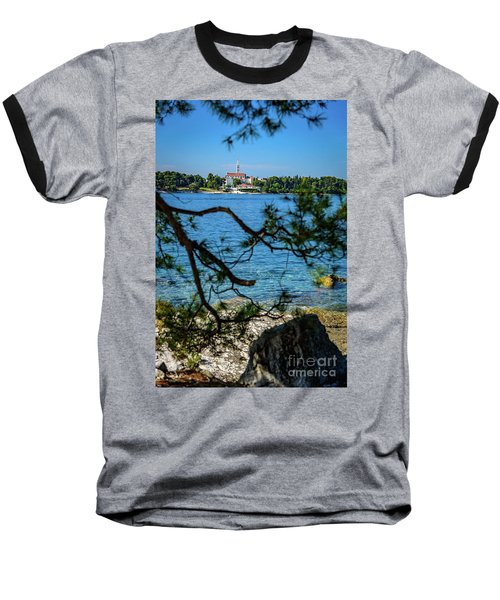 Rovinj Seaside Through The Adriatic Trees, Istria, Croatia Baseball T-Shirt