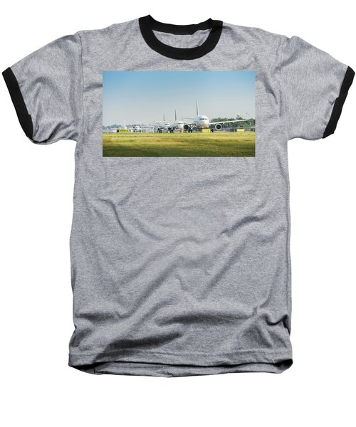 Row Of Airplanes Ready To Take-off Baseball T-Shirt