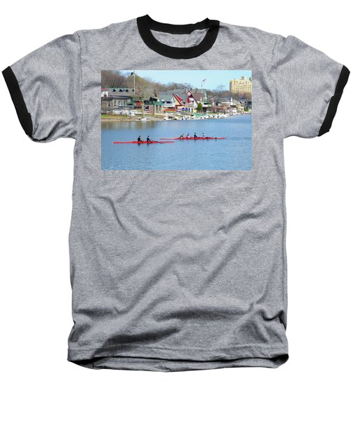Rowing Along The Schuylkill River Baseball T-Shirt