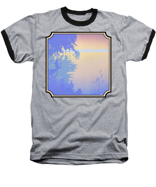 Rowing Back To The Boat Dock At Sunset Abstract Baseball T-Shirt