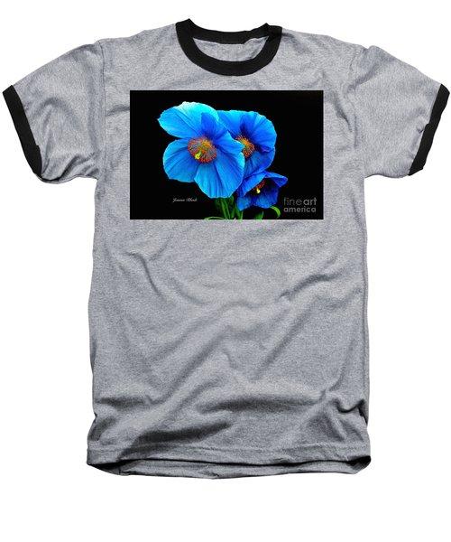 Royal Blue Poppies Baseball T-Shirt