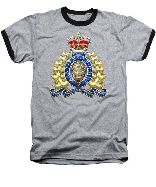 Royal Canadian Mounted Police - Rcmp Badge On Black Leather Baseball T-Shirt by Serge Averbukh