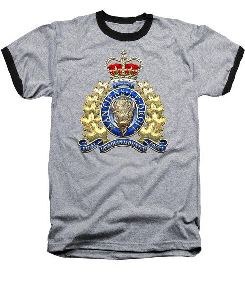 Royal Canadian Mounted Police - Rcmp Badge On Black Leather Baseball T-Shirt