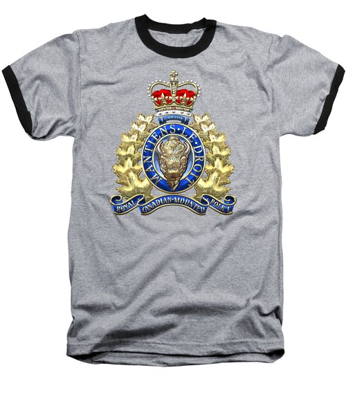 Royal Canadian Mounted Police - Rcmp Badge On Red Leather Baseball T-Shirt by Serge Averbukh