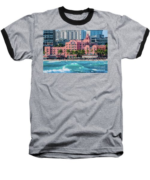 Baseball T-Shirt featuring the photograph Royal Hawaiian Hotel Surfs Up by Aloha Art