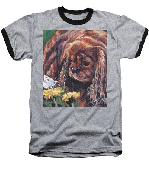 Baseball T-Shirt featuring the painting Ruby Cavalier King Charles Spaniel by Lee Ann Shepard