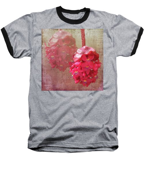 Ruby Colored Orchid Baseball T-Shirt by Rosalie Scanlon