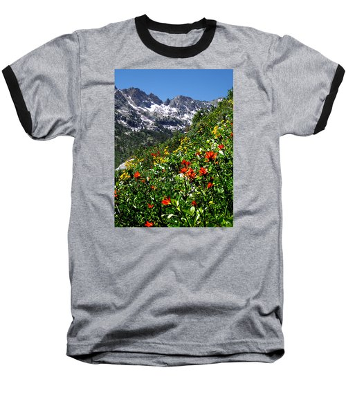 Ruby Mountain Wildflowers - Vertical Baseball T-Shirt by Alan Socolik