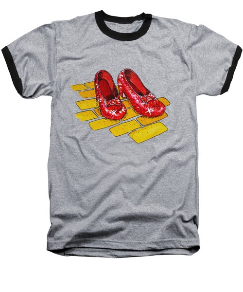 Ruby Slippers Wizard Of Oz Baseball T-Shirt by Irina Sztukowski