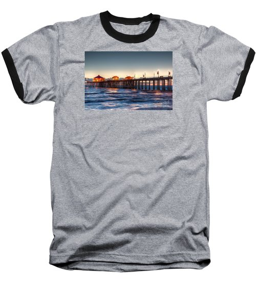 Baseball T-Shirt featuring the photograph Ruby's Surf City Diner At Twilight - Huntington Beach Pier by Jim Carrell