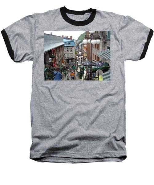 Baseball T-Shirt featuring the photograph rue du Petit Champlain by John Schneider