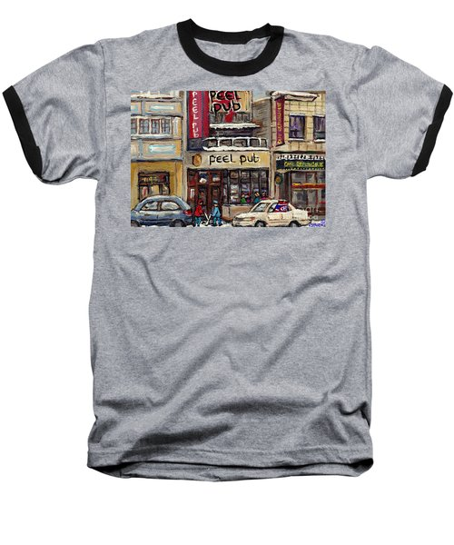 Rue Peel Montreal Winter Street Scene Paintings Peel Pub Cafe Republique Hockey Scenes Canadian Art Baseball T-Shirt