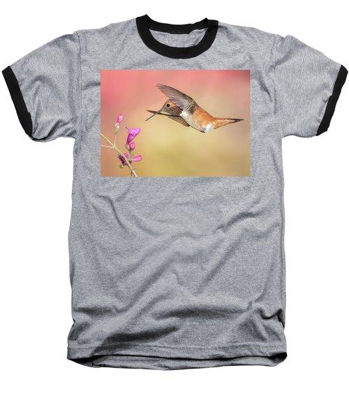 Rufous Hummingbird With Penstemon Baseball T-Shirt