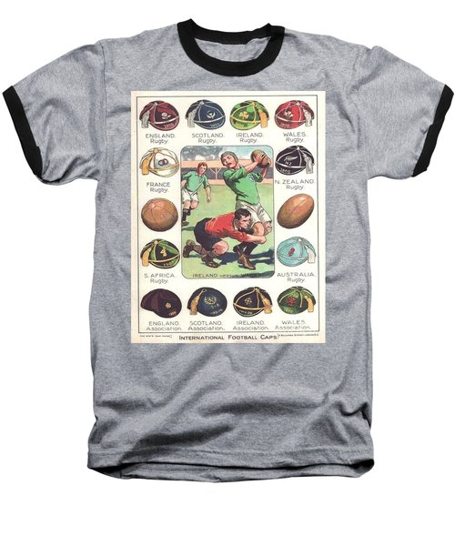 Baseball T-Shirt featuring the painting Rugby Caps - Vintage by Pg Reproductions