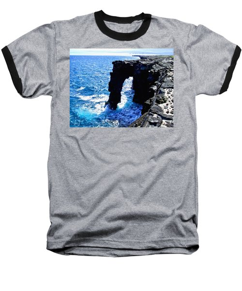Baseball T-Shirt featuring the photograph Rugged Kona Sea Arch by Amy McDaniel