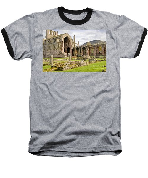 Ruins. Melrose Abbey. Baseball T-Shirt