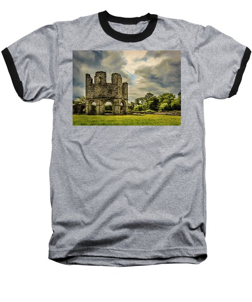 Baseball T-Shirt featuring the painting Ruins Of Mellifont Abbey by Jeff Kolker