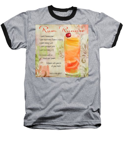 Rum Runner Mixed Cocktail Recipe Sign Baseball T-Shirt by Mindy Sommers