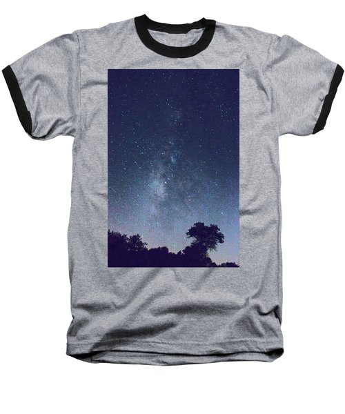Running Dog Tree And Galaxy Baseball T-Shirt by Carolina Liechtenstein