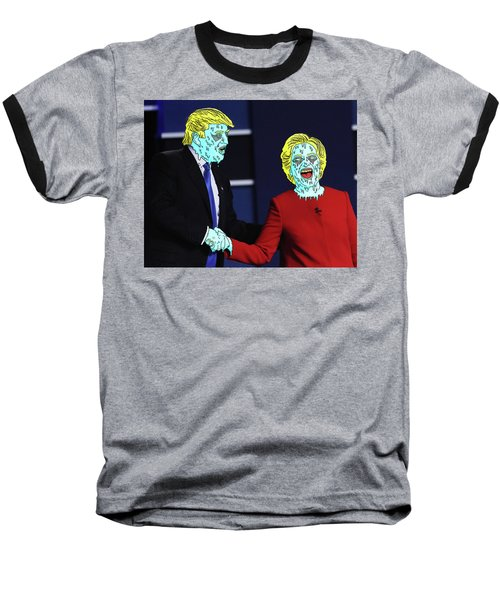 Baseball T-Shirt featuring the painting Running Down The Same Cloth. by Chief Hachibi