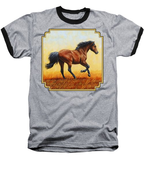 Running Horse - Evening Fire Baseball T-Shirt