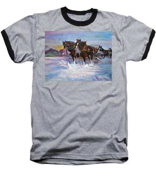 Running Horses- Beach Gallop Baseball T-Shirt