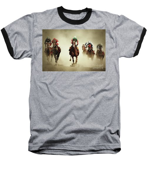 Running Horses In Dust Baseball T-Shirt