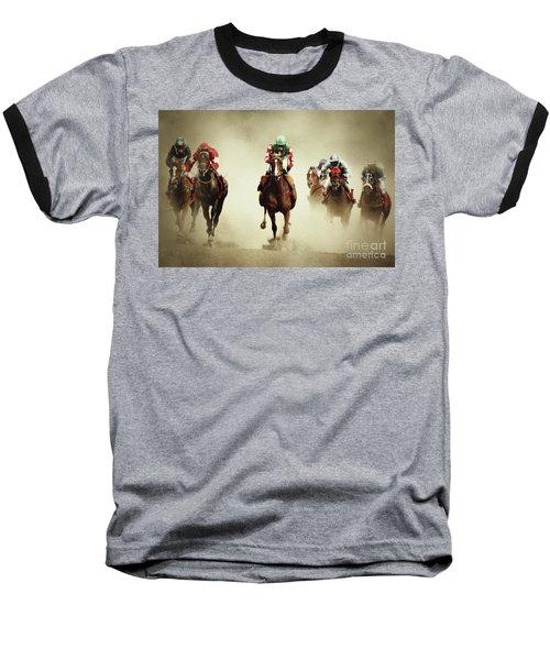 Running Horses In Dust Baseball T-Shirt