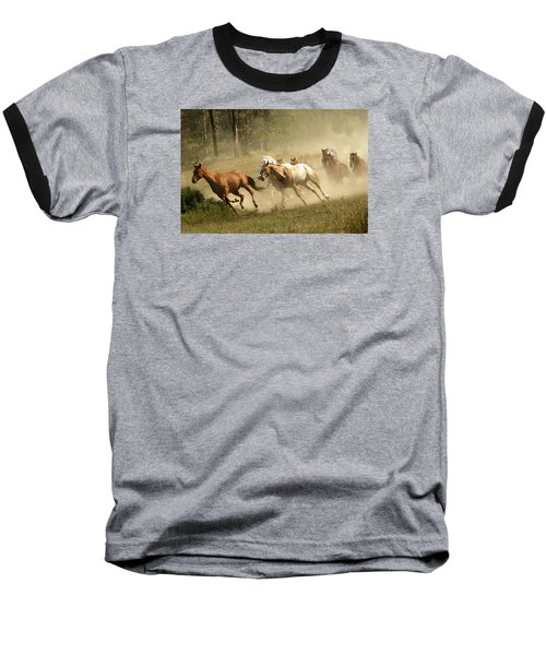 Running Horses Baseball T-Shirt