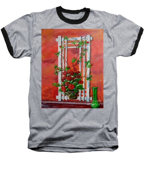Running Roses Baseball T-Shirt by Melvin Turner