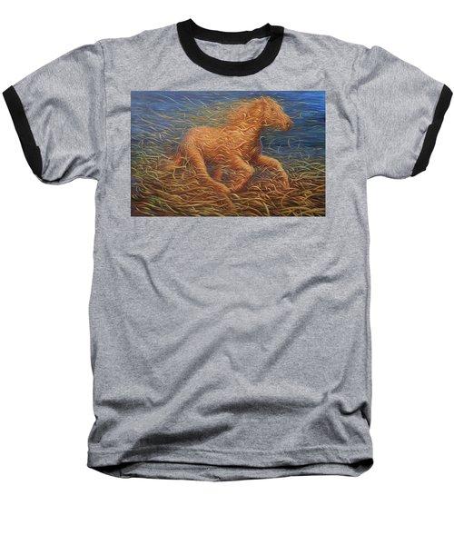 Running Swirly Horse Baseball T-Shirt