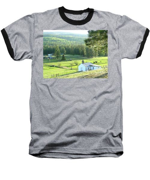 Rural Church In The Valley Baseball T-Shirt by Cindy Croal