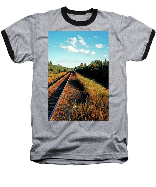 Rural Country Side Train Tracks Baseball T-Shirt