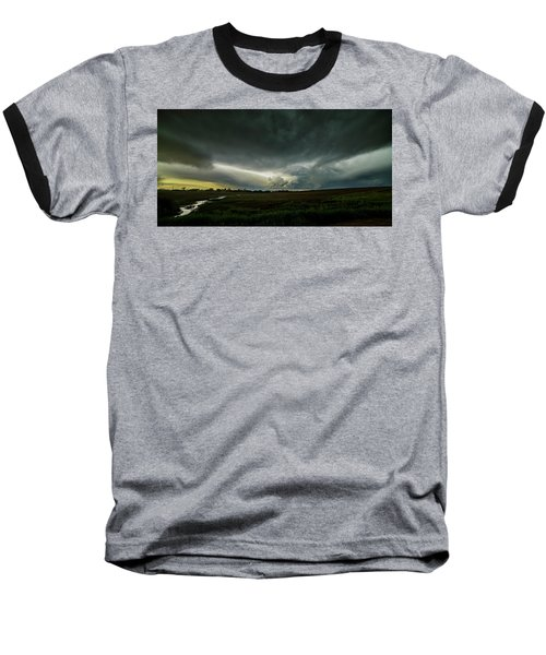 Rural Spring Storm Over Chester Nebraska Baseball T-Shirt by Art Whitton