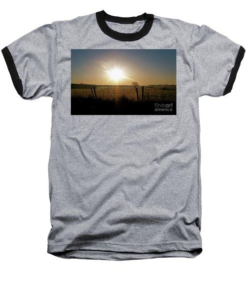 Rural Sunrise Baseball T-Shirt by Sue Stefanowicz