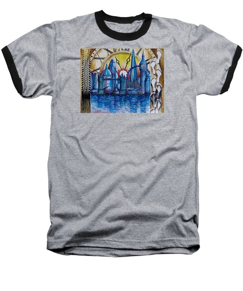 Baseball T-Shirt featuring the painting Rush Hour In London by Geni Gorani