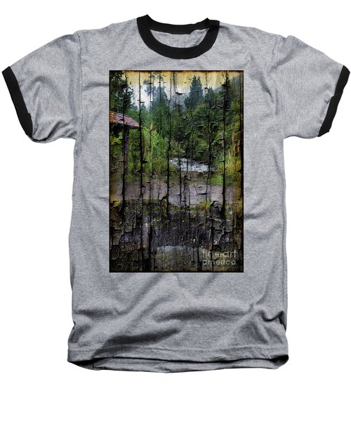 Rushing Cascade In The Andes - On Bark Baseball T-Shirt by Al Bourassa