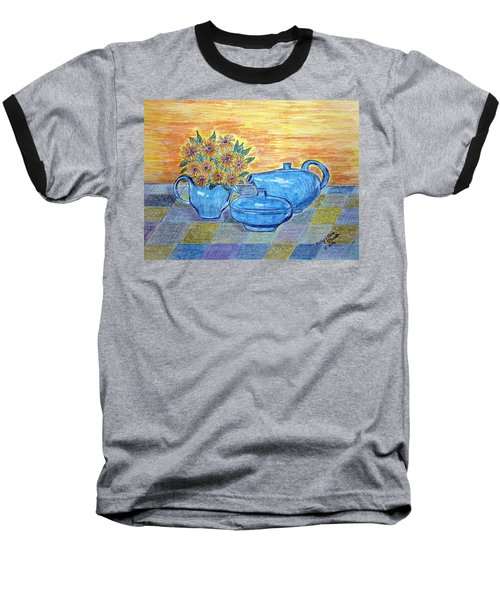 Baseball T-Shirt featuring the painting Russel Wright China  by Kathy Marrs Chandler