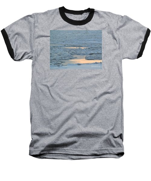 Russian Waterway Frozen Over Baseball T-Shirt by Margaret Brooks