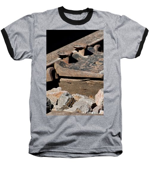 Rusted Rail Baseball T-Shirt by Colleen Coccia