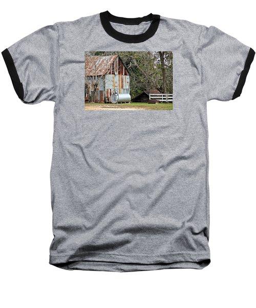 Rusted Tin Shed In Burnt Corn Baseball T-Shirt by Lynn Jordan
