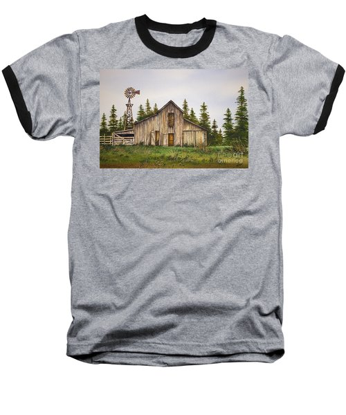 Baseball T-Shirt featuring the painting Rustic Barn by James Williamson